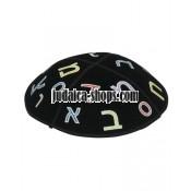 """Black Embroidered Kippah – """"Alef-Bet"""""""