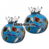 Pomegranate' Candle Holders – Blue Glass