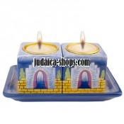"Jerusalem Gates""  Ceramic Candle-Holders"