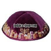 Velvet 'Jerusalem' Kippah - Purple