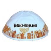 Velvet 'Jerusalem' Kippah - White