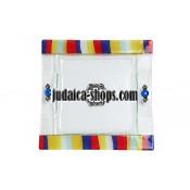 Glass Matzah Tray – stripes design