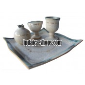 Ceramic Havdalah Set - White/Gold