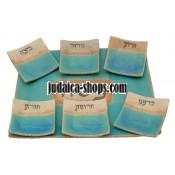 Ceramic Seder Plate - Bright Blue