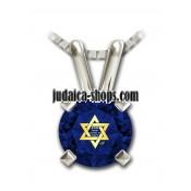 Shema Yisrael Star of David Necklace - Blue