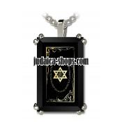 24 K Gold Shema Yisrael Inscribed Onyx Pendant