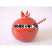 Ceramic Pomegranate Honey Dish - Red