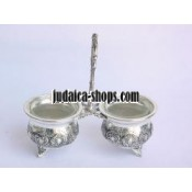 Silver-Plated and Glass Salt Cellar Set