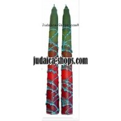 Variegated Tall Shabbat Candles – green & red