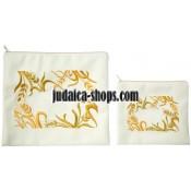 Tallit Bag & Tefillin Bag - Shibolim - White