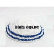 Knitted Kippah White With Blue Lines