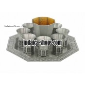 "Pewter ""Streams"" Kiddush Cups and Tray Set"