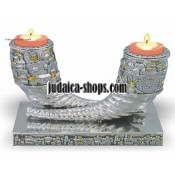 "Shofar-Shaped ""Jerusalem"" Candlestick"