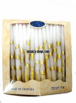Festive Chanukah Candles – white & gold
