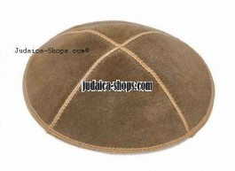 Leather Kippah - Brown