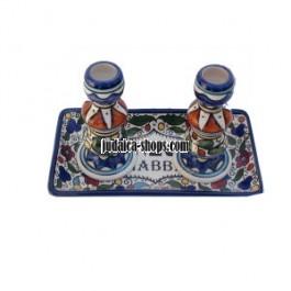 Armenian Style Candlestick and Trat Set