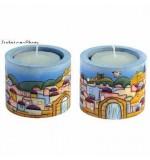 "Jerusalem"" Ram Rashi Candlesticks"