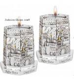 "Jerusalem Gates"" Hexagon-shaped Candlesticks"