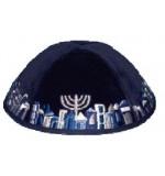 Velvet 'Jerusalem' Kippah – Navy Blue