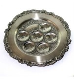 Round pewter Seder plate