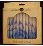 12 Tall Shabbat Candles – blue & white