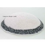 Knitted Kippah – White. with Black Trim
