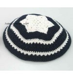 Knitted Kippah – Blue. with White Flower