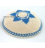 Knitted Kippah – Beige 'Magen David'