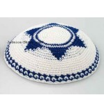Knitted Kippah – White 'Magen David'