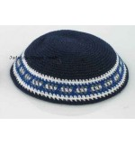 Knitted Kippah – Navy Blue & Grey